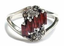 4x roter Granat Rechteckfacetten 4x Markasit 925 Silber Ring