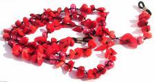 Brillenkette 100x Koralle 14x SWZucht Perle rot
