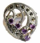 Ring 5x lila Amethyst Rundfacetten 10x Markasit 925 Silber groß