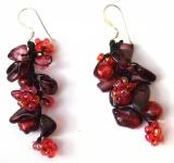 DARK RED MERMAID -Granat Perlen Blumen 925 Silber lange Ohrringe