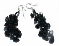 BLACK PEARL FAIRYTALE - Perlen Onyx 925 Silber lange Ohrringe