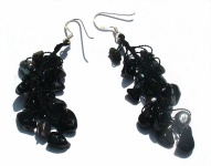 Ohrringe lang BLACK PEARL FAIRYTALE - Perlen Onyx 925 Silber