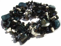 Kette Onyx Perle Perlmutt geknotet 1, 2, 3-fach tragbar sehr lang schwarz