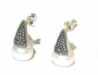 2x Perlen weiß 6x Markasit Silber 925 Silber Ohrstecker Pyramide