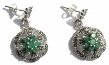 Ohrringe 14x Smaragd 44x Markasit 925 Silber Schmetterling auf Blume