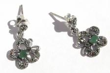 Ohrringe 2x Smaragd 22x Markasit 925 Silber Schmetterlinge