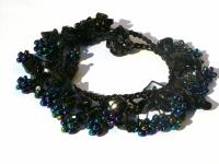 50 x schwarzer Onyx 20 x obsidiane Blumen Armband längenvariabel
