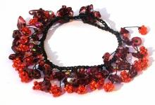 Armband 50x roter Granat 20 x orangene Blumen längenvariabel