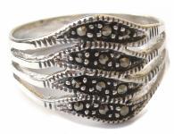 12 x funkelnder Markasit 925 Silber 4geteilter Bandring