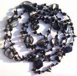 BLACK MERMAID - Onyx Perle Perlmutt Kette160cm geknotet 1, 2, 3-fa
