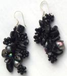 BLACK MERMAID -Onyx Perlen 925 Silber lange Ohrringe
