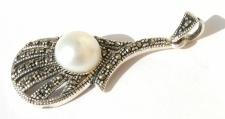 weisse große Perle17x Markasit 925 Silber Anhänger länglich