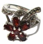 6x roter Granat 8x Markasit 925 Silber Ring Anemone