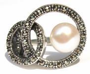 1x weiße flache Perle 39x Markasit 925 Silber Ring Kreise