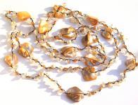 Kette sehr lang Citrinquarz Perlen Perlmutt geknotet 1, 2, 3-fach tragbar