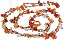 ORANGE CHANGINGFAIRY - Blumen Karneol Collier Arm-Fußkette gekno