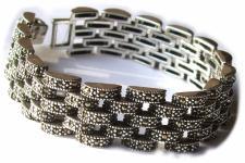 239 x funkelnder Markasit 925 Silber breites Armband