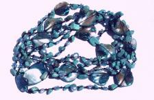 Kette sehr lang Türkis Perlen Perlmutt geknotet 1, 2, 3-fach tragbar