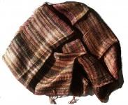 Blazer Schal Streifen 100 % Rohseide 30 x 160 cm Braun Multicolor Unikat