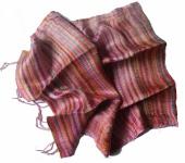Blazer Schal Streifen 100 % Rohseide 30 x 160 cm Multicolor Violett Unikat