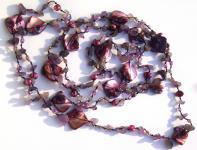 Kette sehr lang Amethyst Perlen Perlmutt geknotet 1, 2, 3-fach tragbar