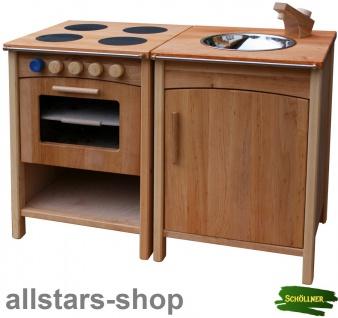 Schöllner Kinderküche Vario Single mit 2 Einheiten Herd Backofen Kühlschrank Spüle Spielküche Erlenholz Pantry