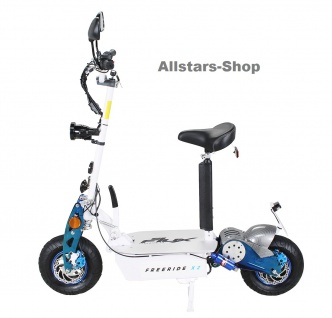 E-Scooter eFlux Freeride X2 2000 Watt 60 Volt mit Straßenzulassung weiss-blau