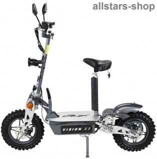 Actionbikes Elektroroller eFlux Vision X2 STVZO E-Roller 45 km/h mit Sattel silber-grau
