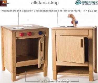 Allstars Kinderküche Herd mit Backofen und Spültisch-Schrank Spielküche H = 55, 5 cm
