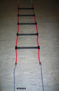 Beckmann Profi Strickleiter 2 m Leiter rot schwarz Sprossenleiter Erdverankerung
