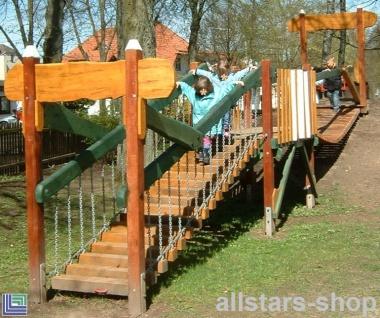 Balanciergerüst Parcours mit Hängebrücke Kletteranlage Balancieranlage Spielplatz
