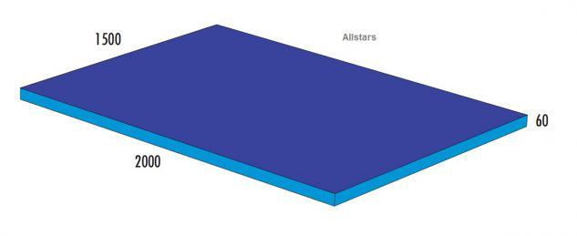 Bänfer Softbaustein Turnmatte Blau 2000 x 1500 x 60 mm Maxi Schaumstoff-Baustein