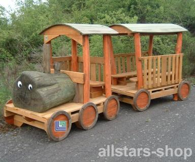 Spielplatzeisenbahn Spielzug - Loki - Holz-Lokomotive ohne Waggon für öffentlichen Spielplatz
