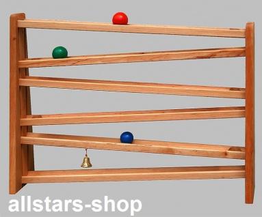 Schöllner Holzspielzeug Kugelbahn KUSPLBAHN aus Holz mit 3 Kugeln und 1 Glöckchen