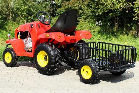 allstars Actionbikes Kindertraktor rot Quad Kindertrecker mit Anhänger Traktor 4-Takter Miweba