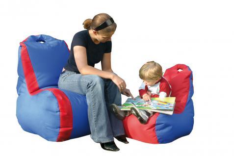 Bänfer Sitzsack Nylon Lehnensitzsack Knautschsack Nylonsitzsack groß blau/rot