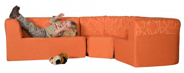 Bänfer Eckcouch MINI Sofa 3 teilig rechts länger Couch Farbwahl Microfaser Motiv