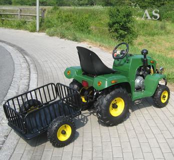 allstars Actionbikes Kindertraktor gruen Kindertrecker mit Anhänger Traktor 4-Takter Miweba