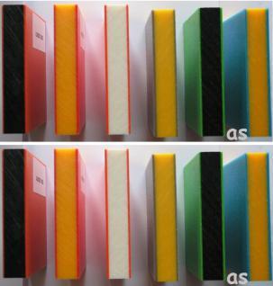 Beckmann HDPE-Sandwich-Platte 1.500 x 1.500 x 19 mm durchgefärbt 4 Platten rot/gelb/rot