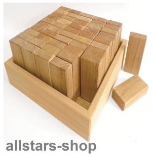 Allstars Bauspiel 50 Stück Quader aus Erlenholz im Holzkasten für Holz-Bauklötze