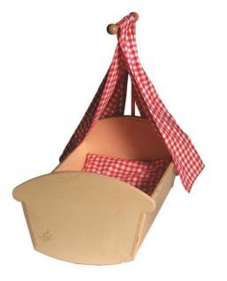 Alstars Puppenmöbel Puppenwiege Midi Holzpuppenwiege mit Bettzeug Holzwiege 50 cm