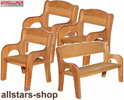 Schöllner Puppenmöbel Klassik aus Holz Puppenbank und 3 Stühle Spielmöbel