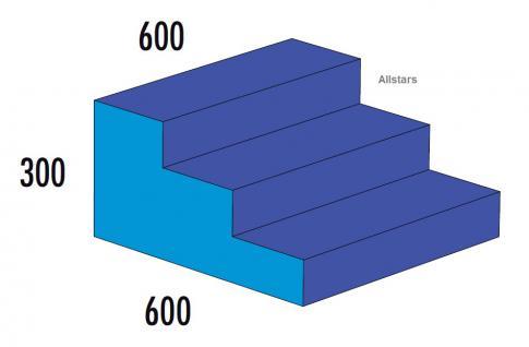 Bänfer Softbaustein Treppe 3-stufig Blau 60 x 60 x 30 Maxi Schaumstoff Großbaustein