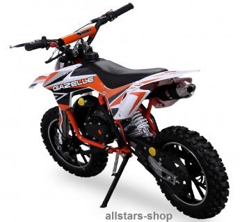 Actionbikes Kindermotorrad Kinder-Crossbike Poketbike Gazelle 49 cc Benzin-Motor orange - Vorschau 2