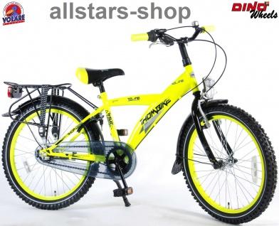 """Allstars Dino Wheels Bikes Jungenfahrrad 20 """" Handbremse Rücktritt 3-Gänge Fahrrad neon gelb"""