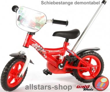 """Allstars Dino Wheels Bikes Kinderfahrrad 10 """" ohne Freilauf Fahrrad rot mit Schubstange"""