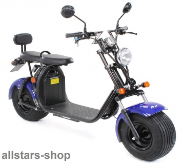 Actionbikes Elektro-Roller Easy Rider Harley Two Sitze Elektro-Scooter Chopper STVZO blau