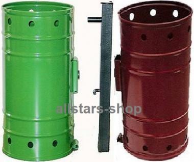 Abfallbehälter Typ 1 Papierkorb Doppelanlage Abfalleimer Mülleimer mit Träger freistehend grün Beckmann