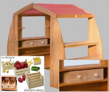 Schöllner Holzspielzeug Kaufhaus De Luxe Kaufladen mit Dach, 4 Schubladen und 6 Obstkisten