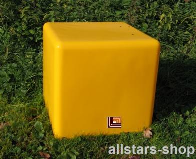 Beckmann Sitzelement Hocker Sitzgelegenheit Design-Würfel Ø = 55 cm gelb mit Bodenanker
